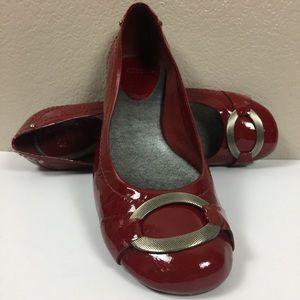 NICOLE Valentine Day Red Patent Leather Flat Shoe